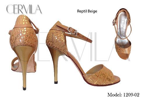 1209-02 Reptil Beige size 38 heel 2.75 in