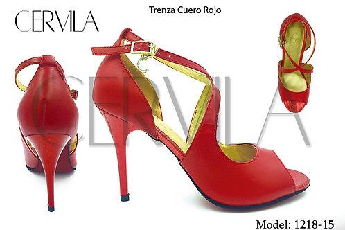 1218-15 Trenza Cuero Rojo size 38 heel 3.5 in