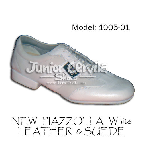 1005-01 New Piazzolla White Leather Suede