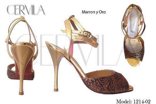 1214-02 Marron y Oro size 35 heel 3.5 in