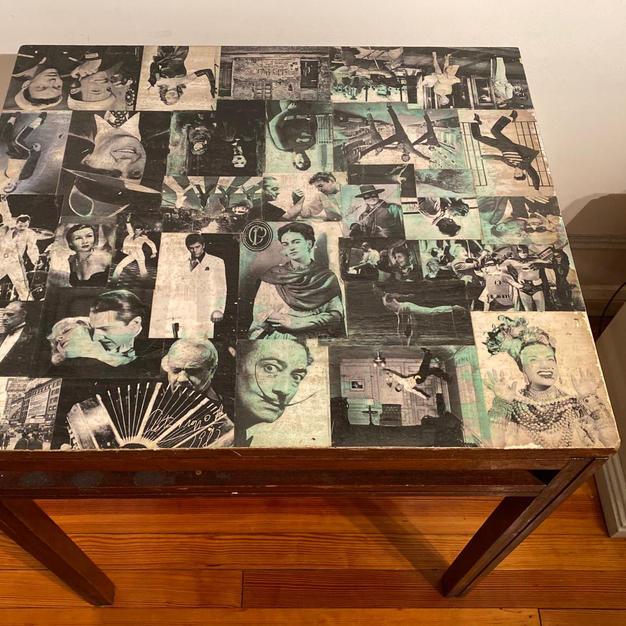 Antigua Mesa Michael Thonet (con Collage)