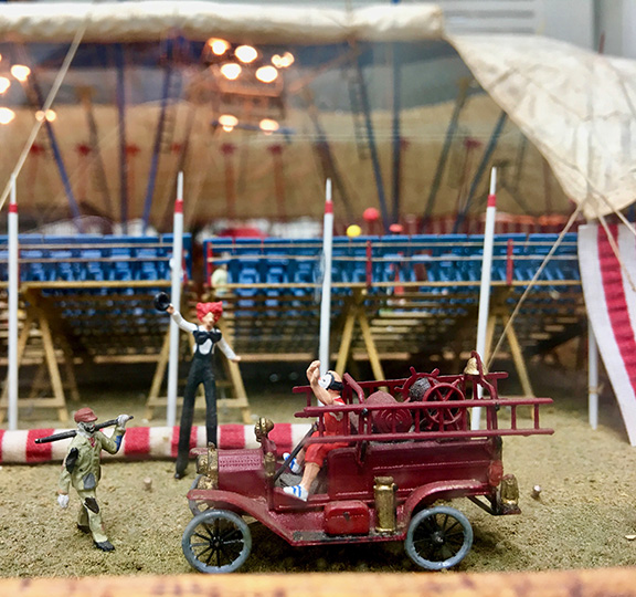 Model Fire Truck with Clowns