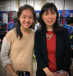 Student Annie Li with Huaxia Chinese School Principal Vivian Wang