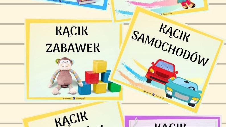 KĄCIKI TEMATYCZNE - karty z nazwami -13 sztuk
