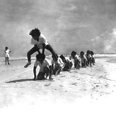 Young campers playing leap frog at the FERA camp for unemployed women - Anastasia Island, Florida (1934)