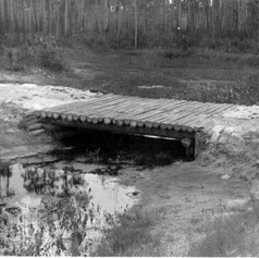 Typical construction of a small bridge by the CCC. (1934)