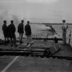 View of Shands Bridge destroyed by fire. (1950)