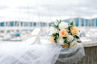 wedding details on the pier