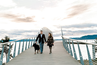 Sunset Engagment Session with dog