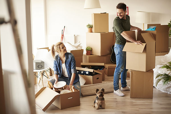 Young couple in new apartment with small