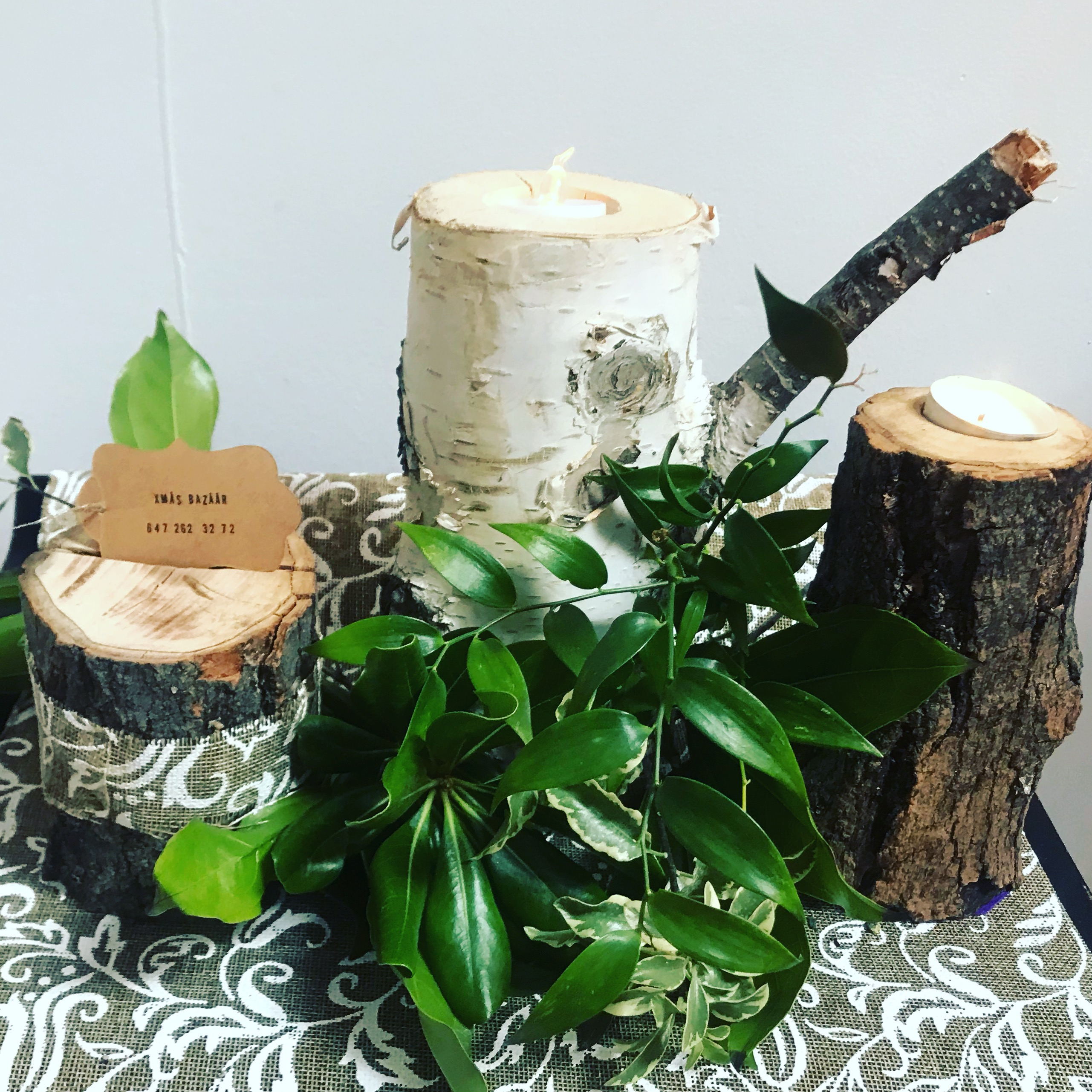maple tree candle and card holders