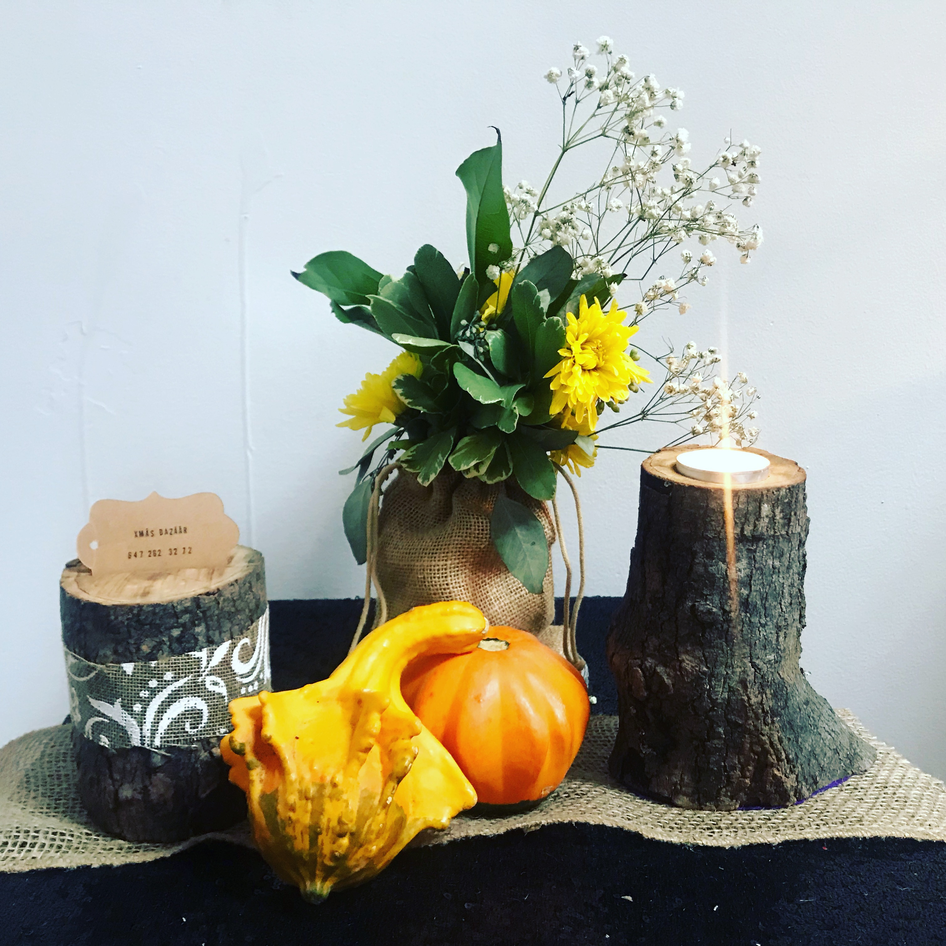ash tree candle and card holder