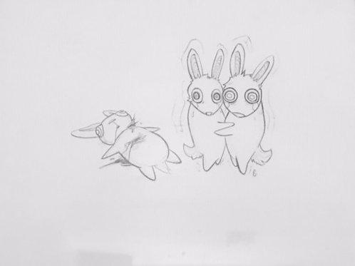 Bunnies. drawing. pencil.