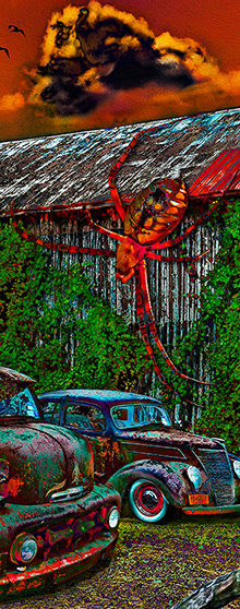 Hot rods in front of an old barn with mysterious critters