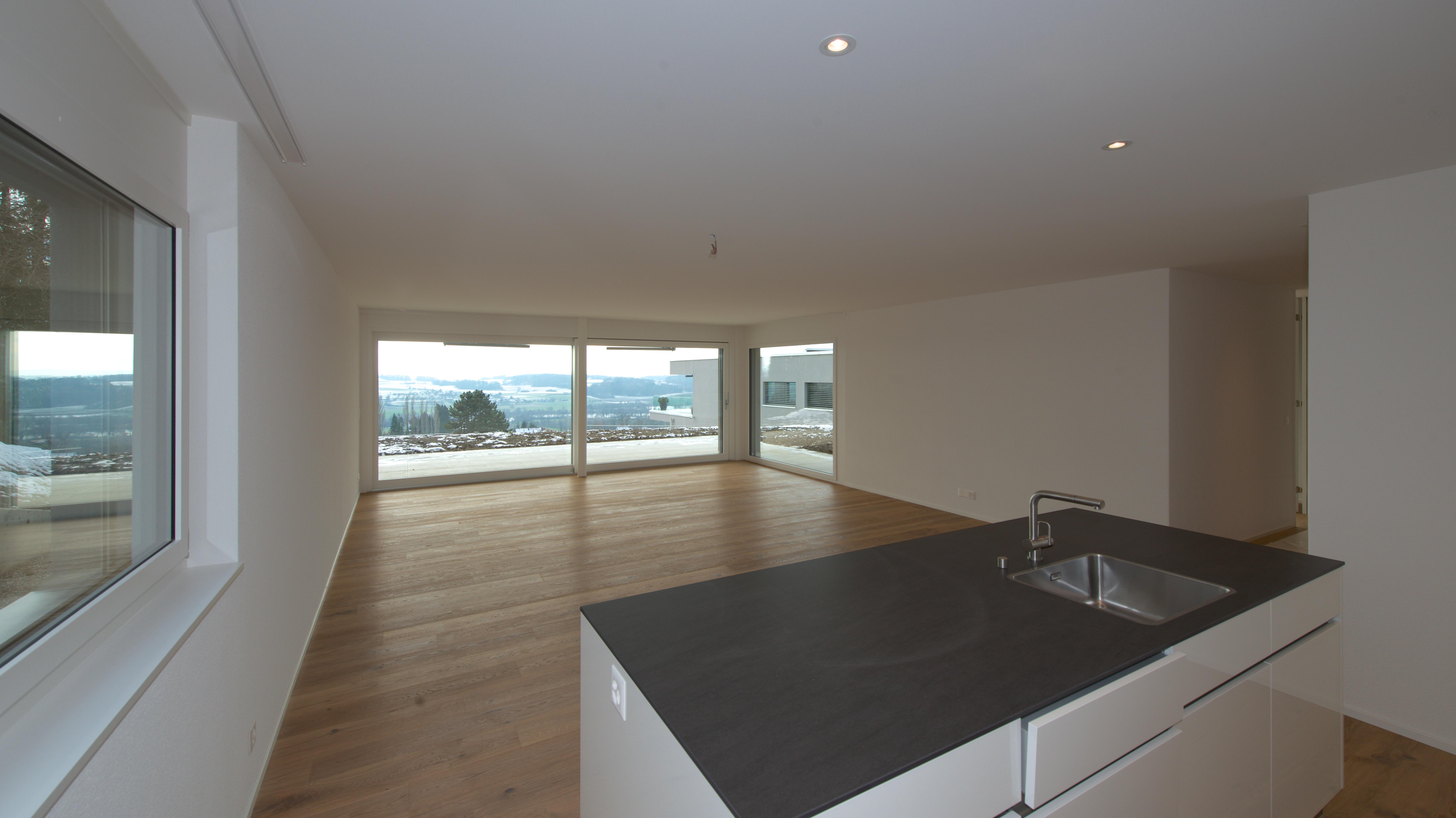 Blick über die Küche in den Wohnbereich