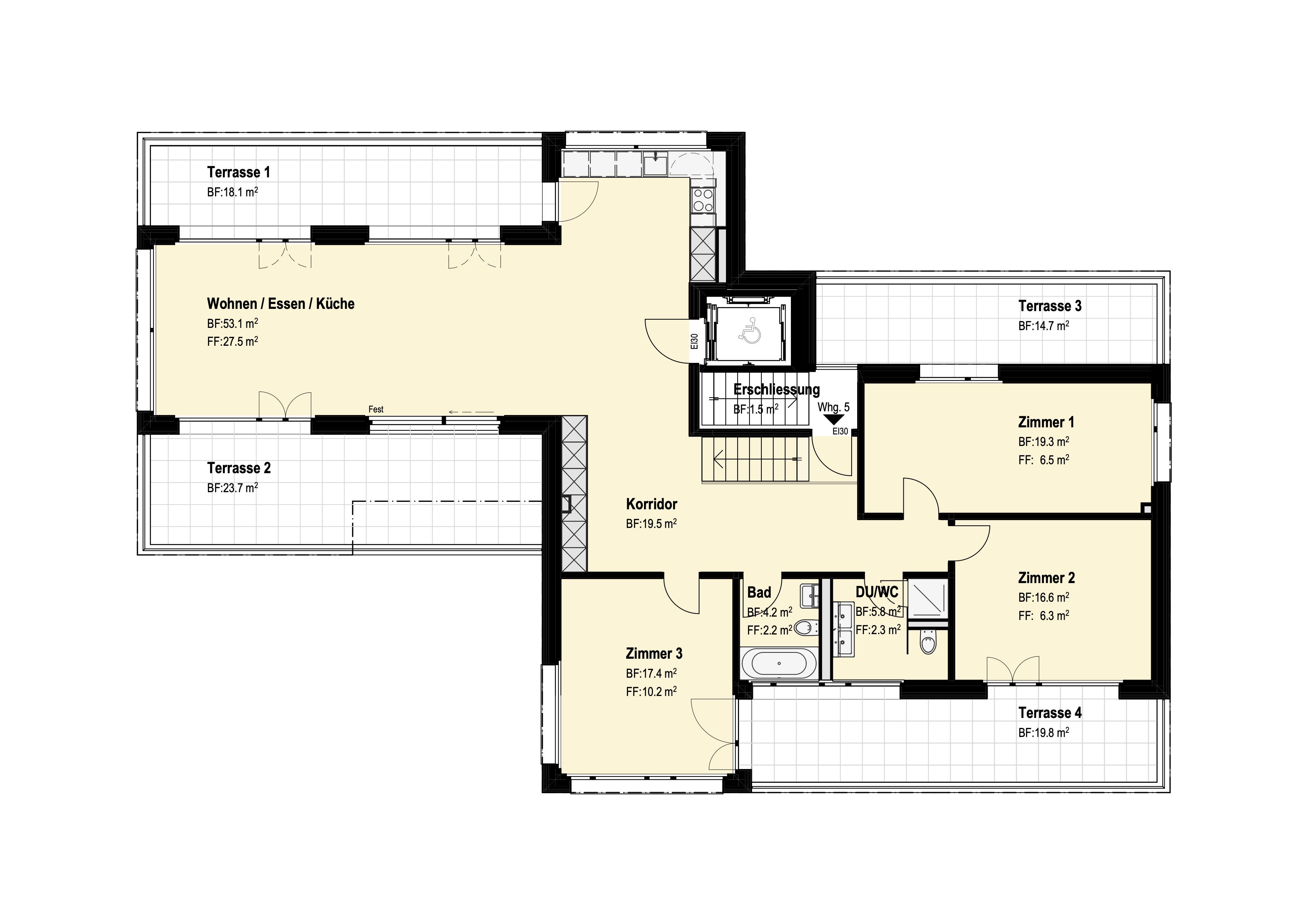 4 1/-2-Zimmer Attika-Wohnung