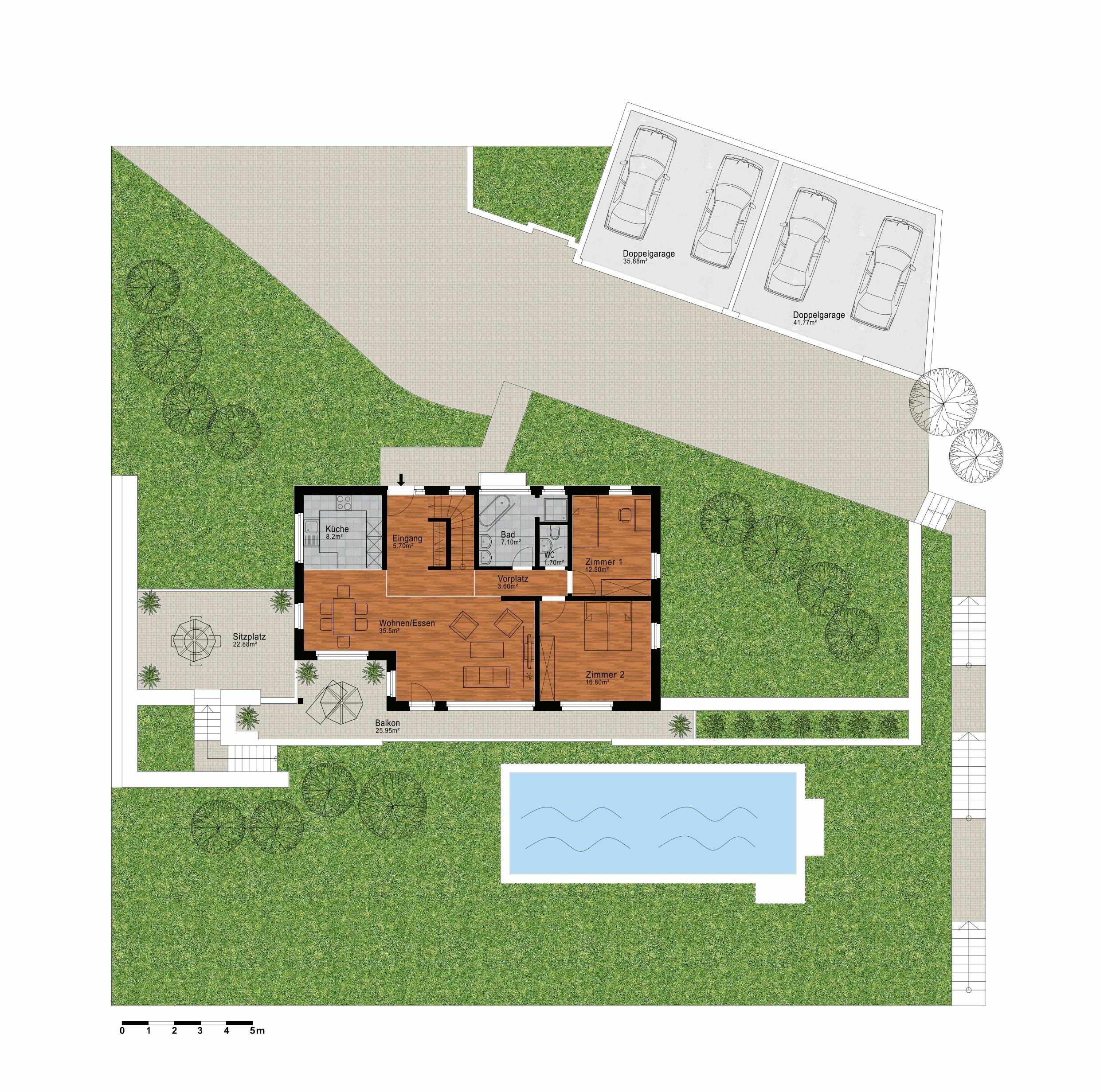 Grundriss, Wohngeschoss und Umgebung