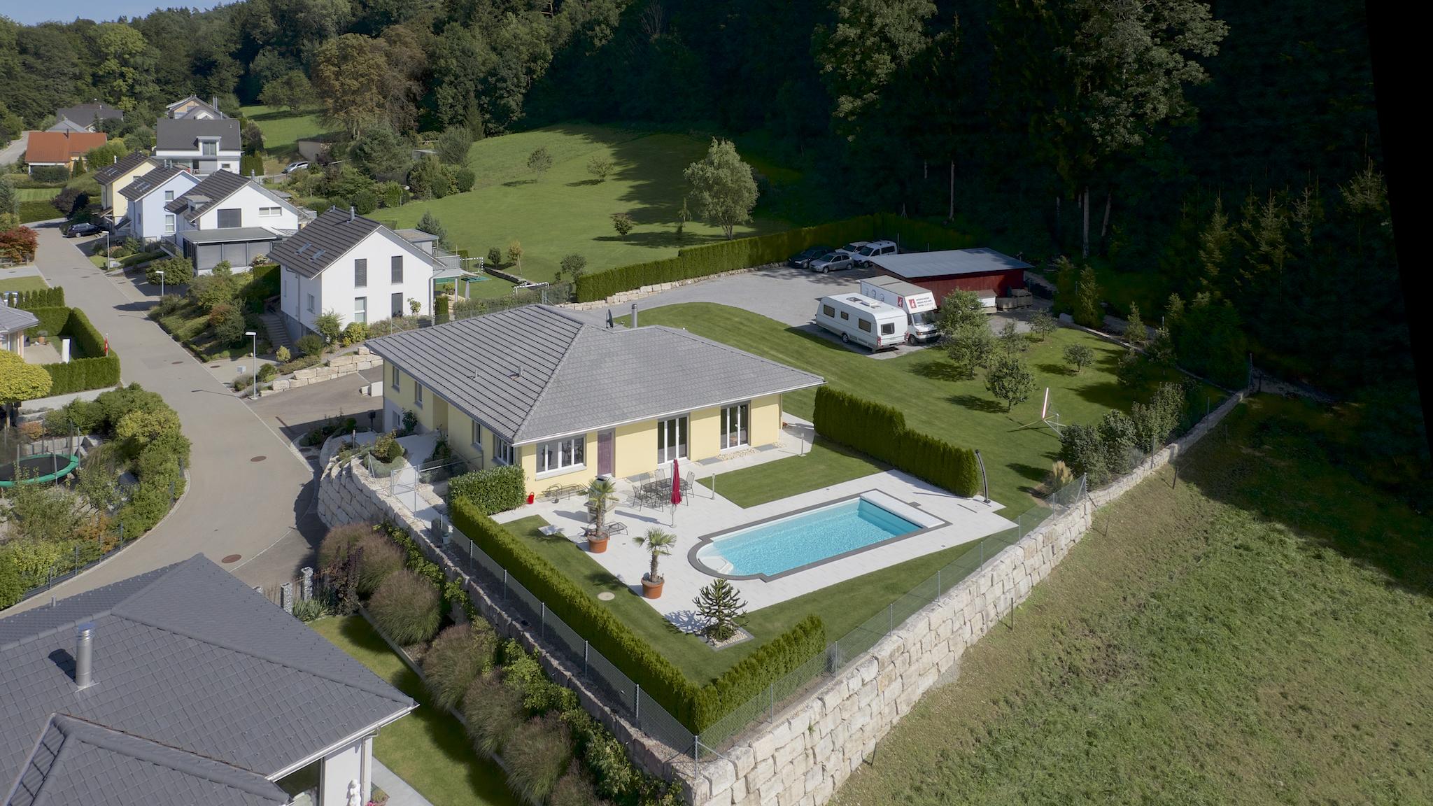 Luftperspektive der Villa