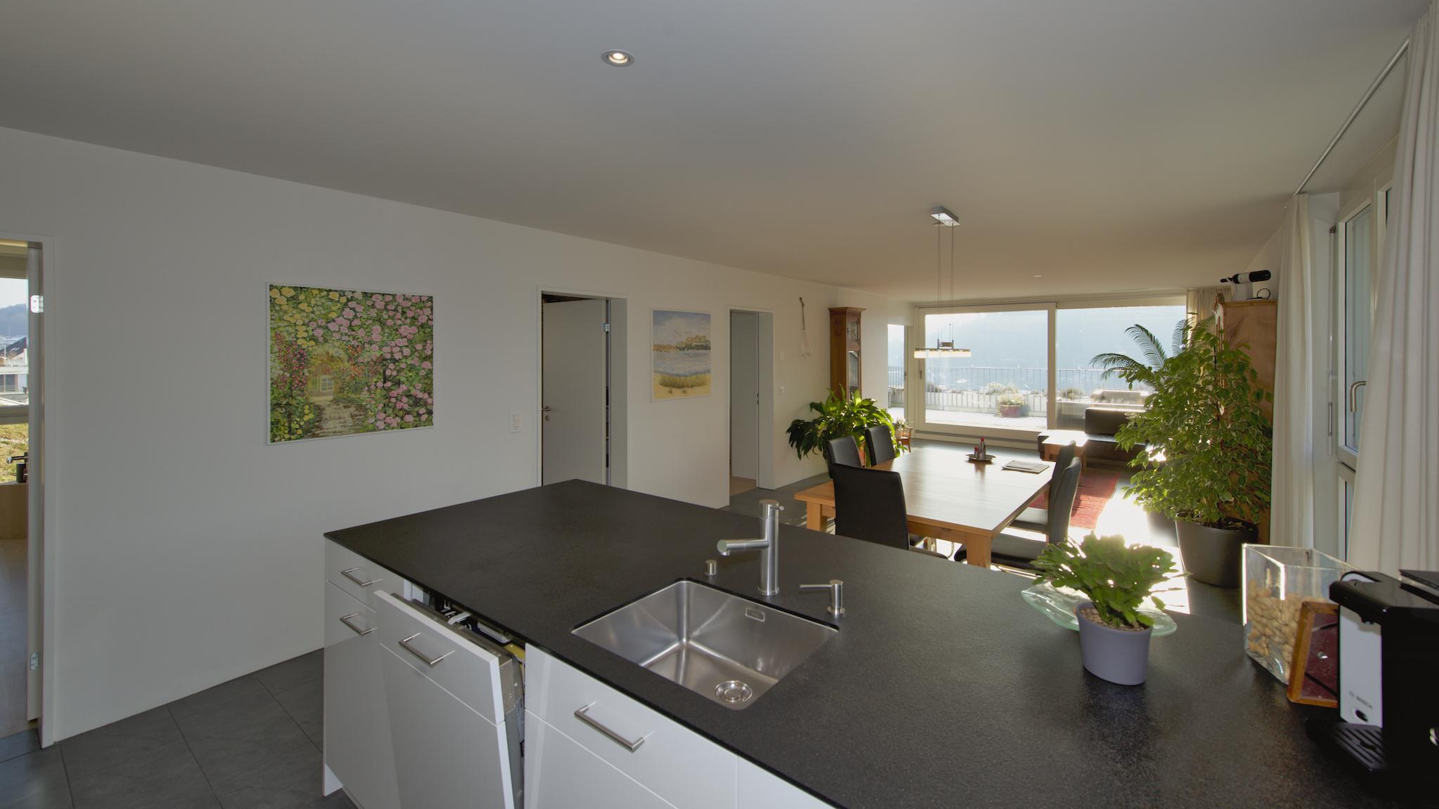 """Blick über die """"Spül-Insel"""" in den Wohnraum"""