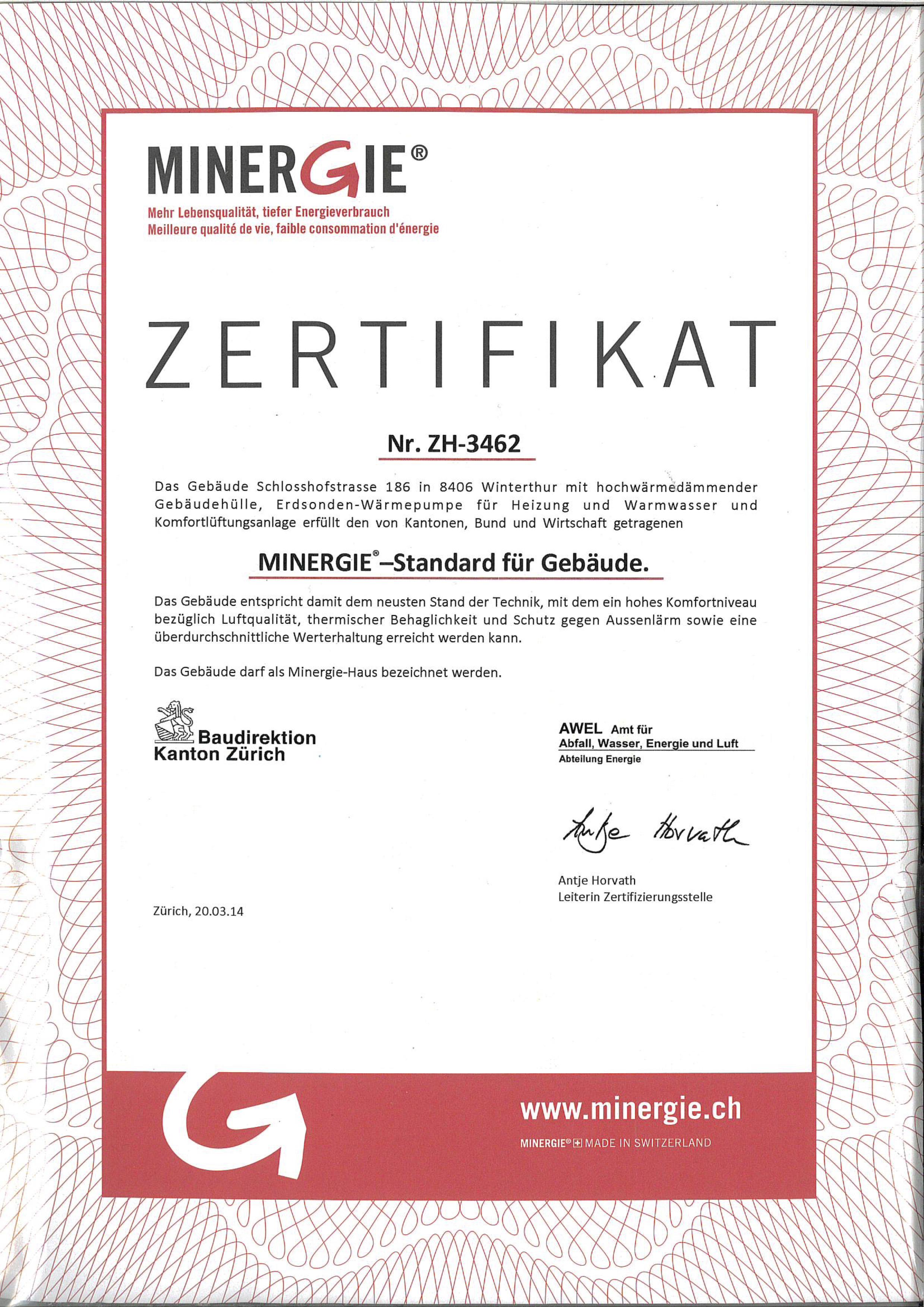 Minergie Zertifikat