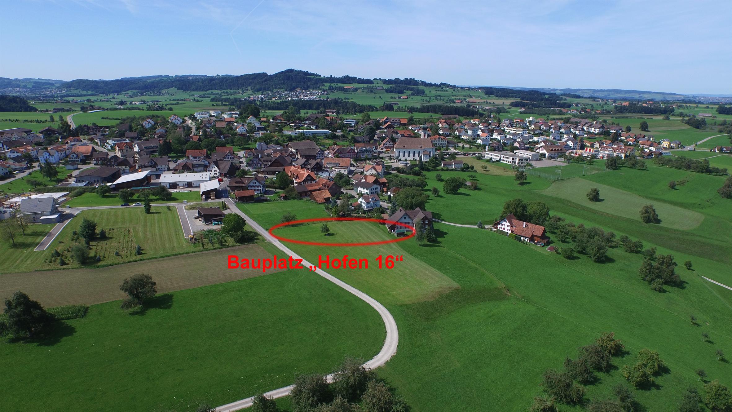 Bauplatz mit dem Dorf