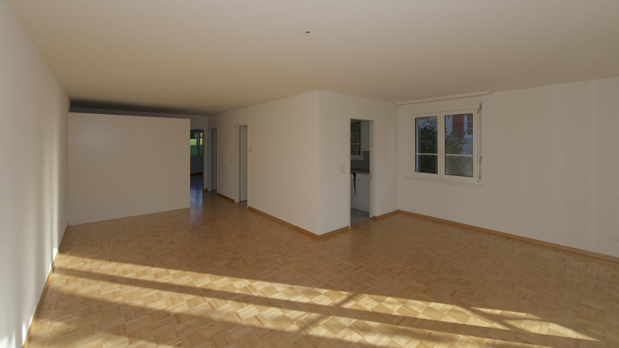 Blick in den Wohnbereich mit der Küche