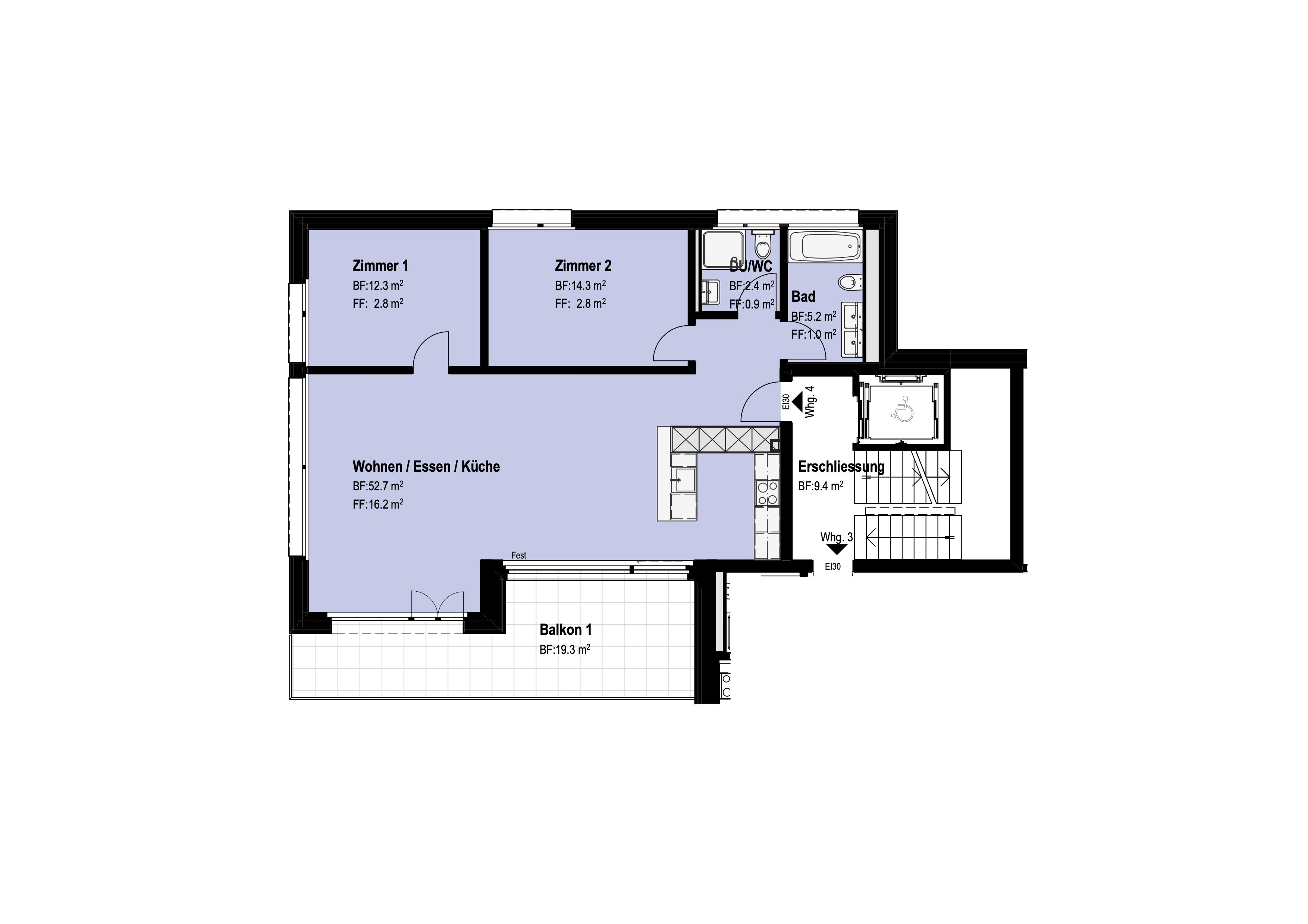 3 ½-Zimmer-Wohnung Obergeschoss