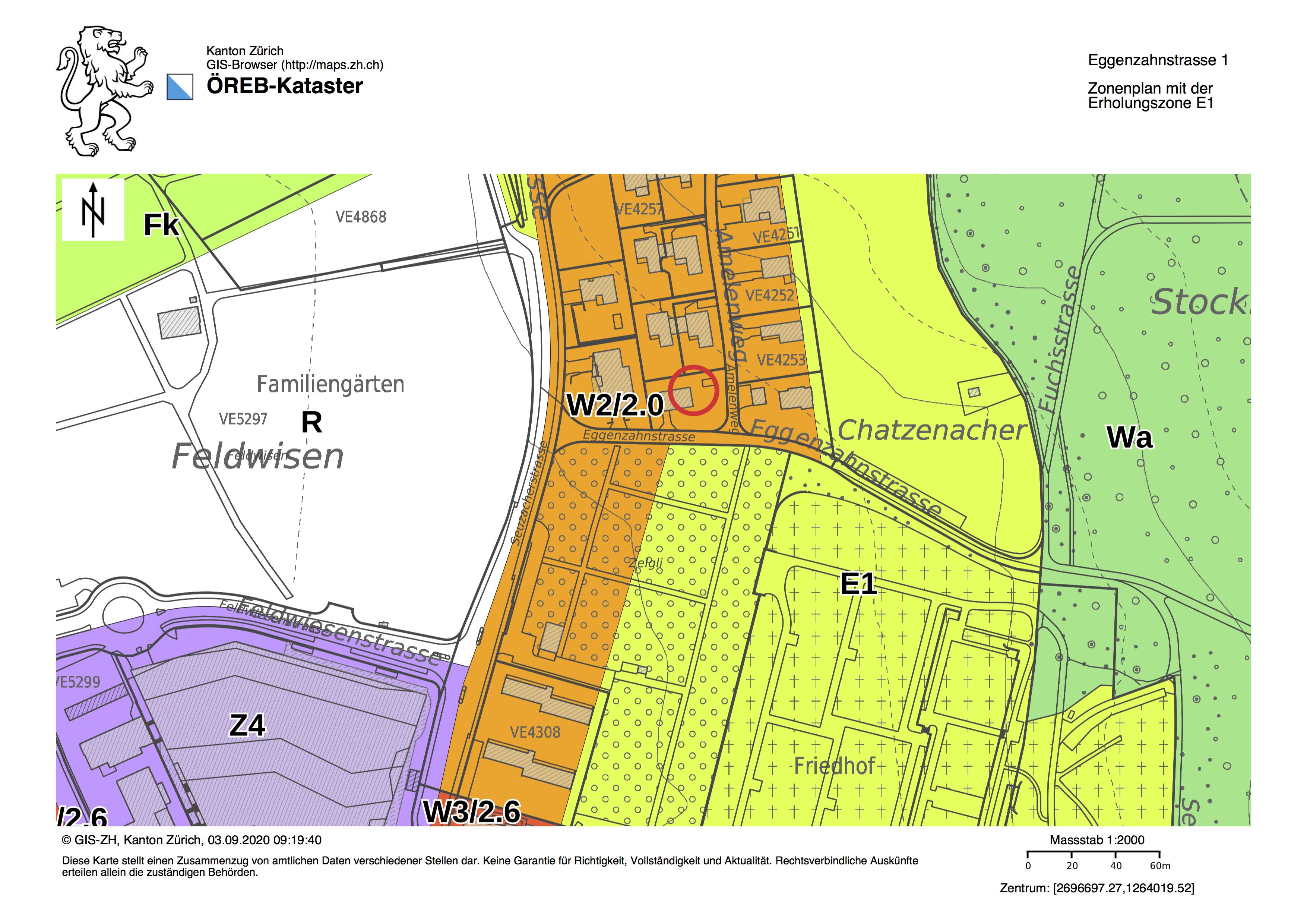 Situation mit der Bau- und Erholungszone