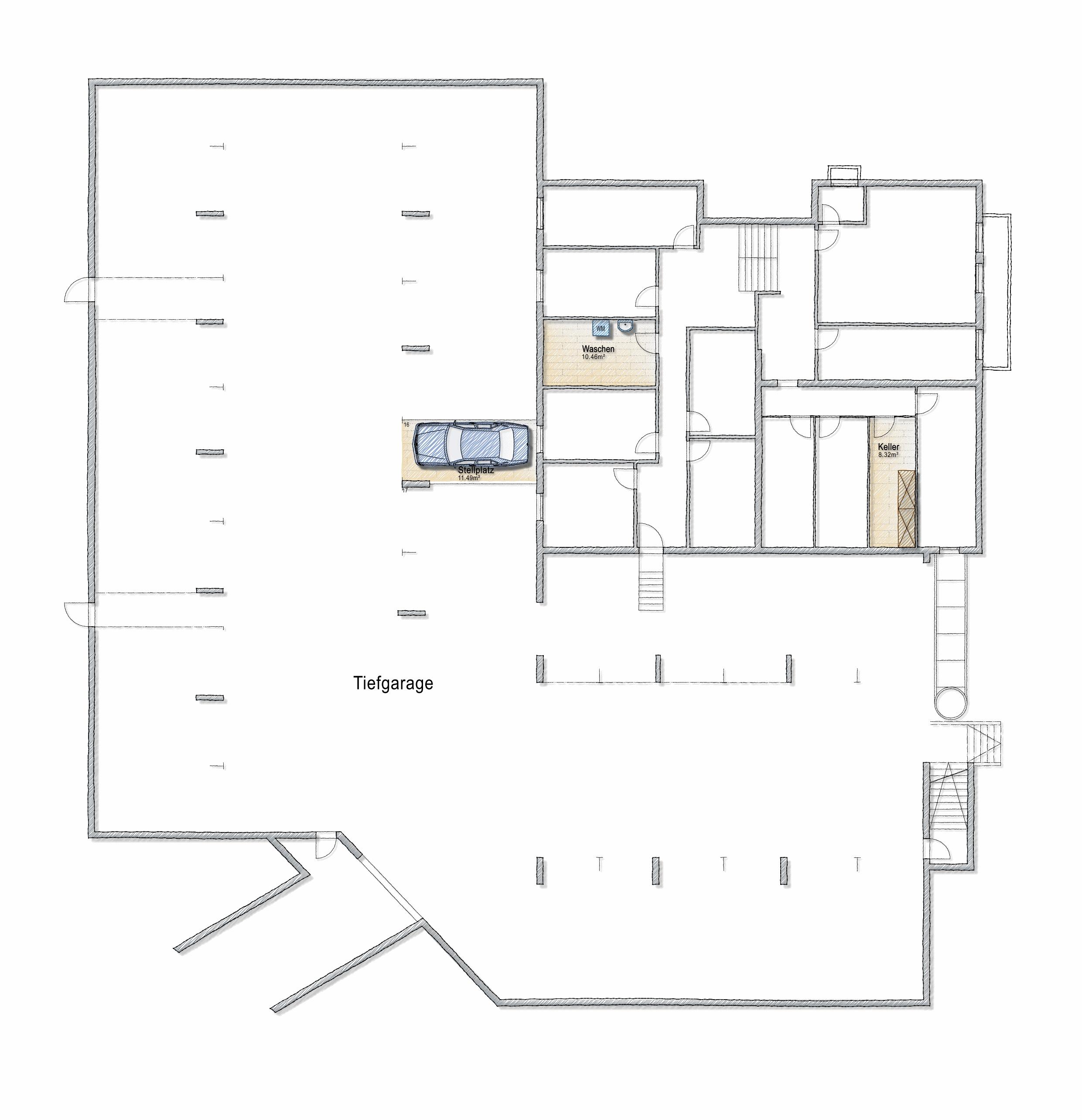 Untergeschoss mit dem Keller, der Waschküche und dem Garagenplatz