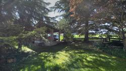 Der Carport an der westlichen Grundstücksgrenze