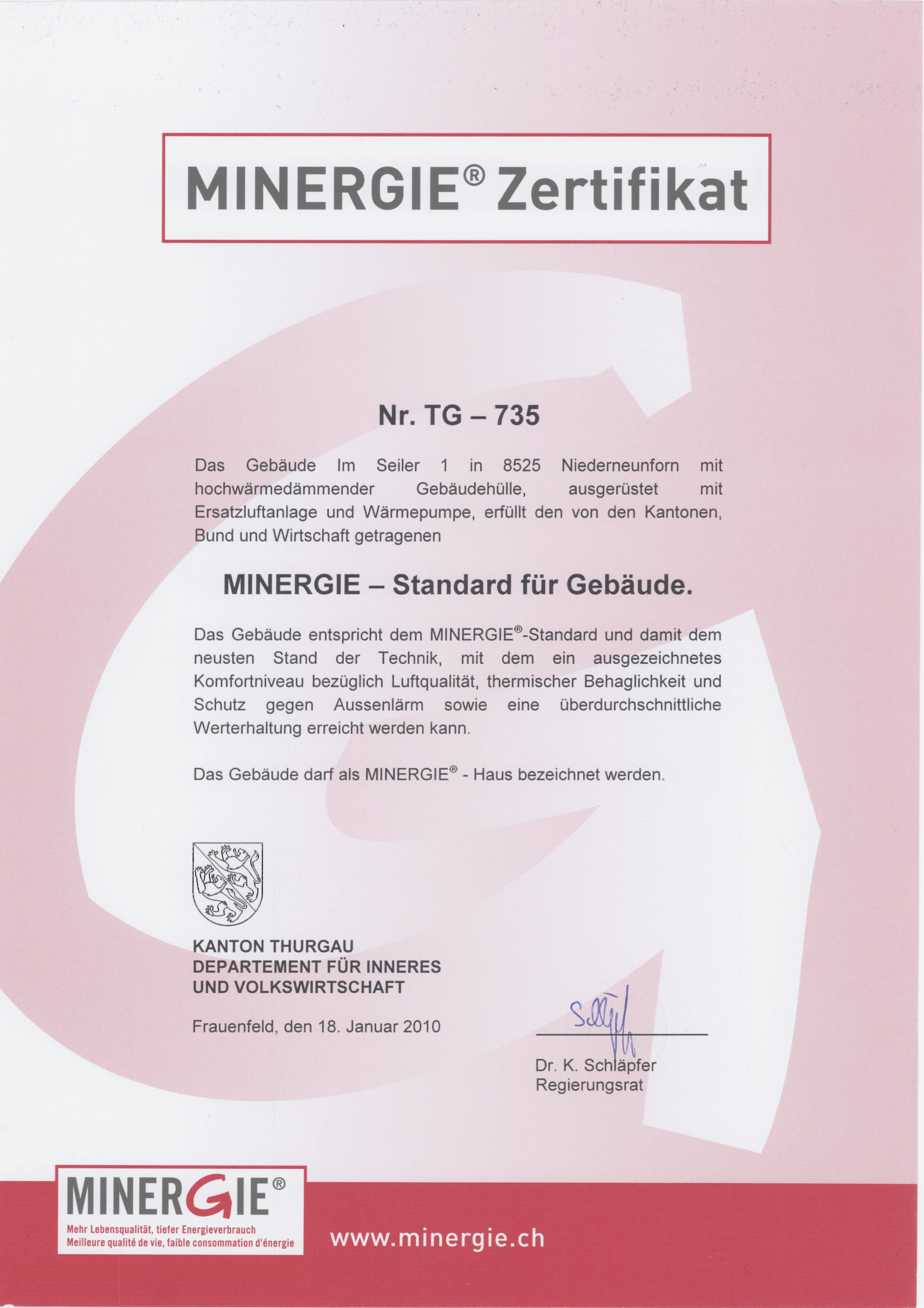 Minergie-Zertifikat