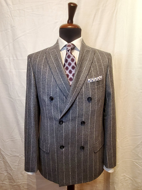 V BARBERIS GREY FLANNEL CHALK STRIPE SUIT