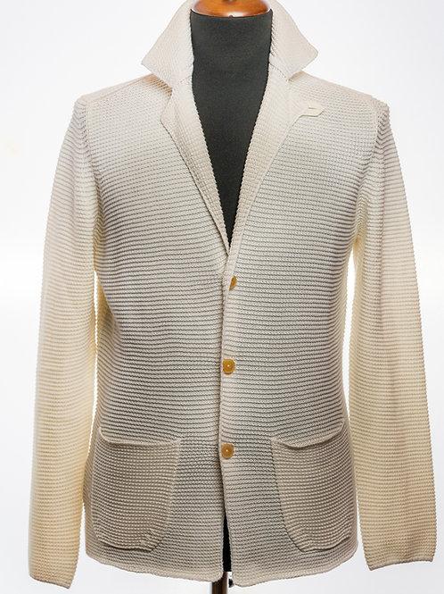 Pure White Linen and Cashmere Knit Blazer