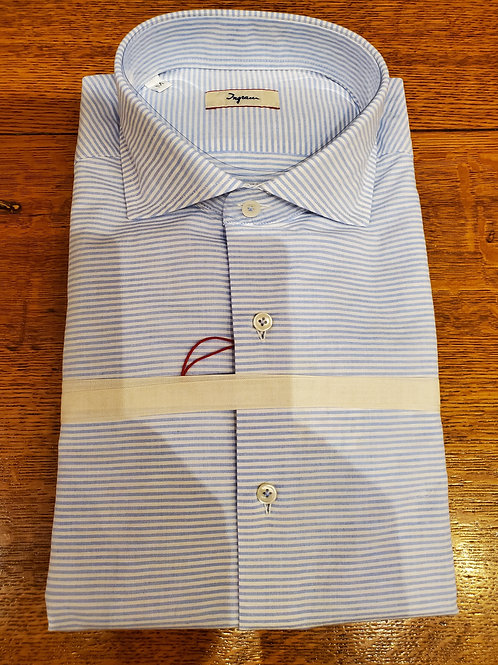 COTTON AND LINEN HORIZONTAL STRIPE SHIRT