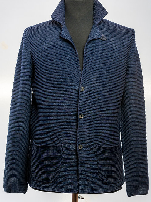 Pure Blue Linen and Cashmere Knit Blazer