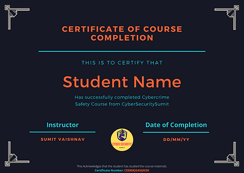 Cybercrime Safety Course Completion Cert