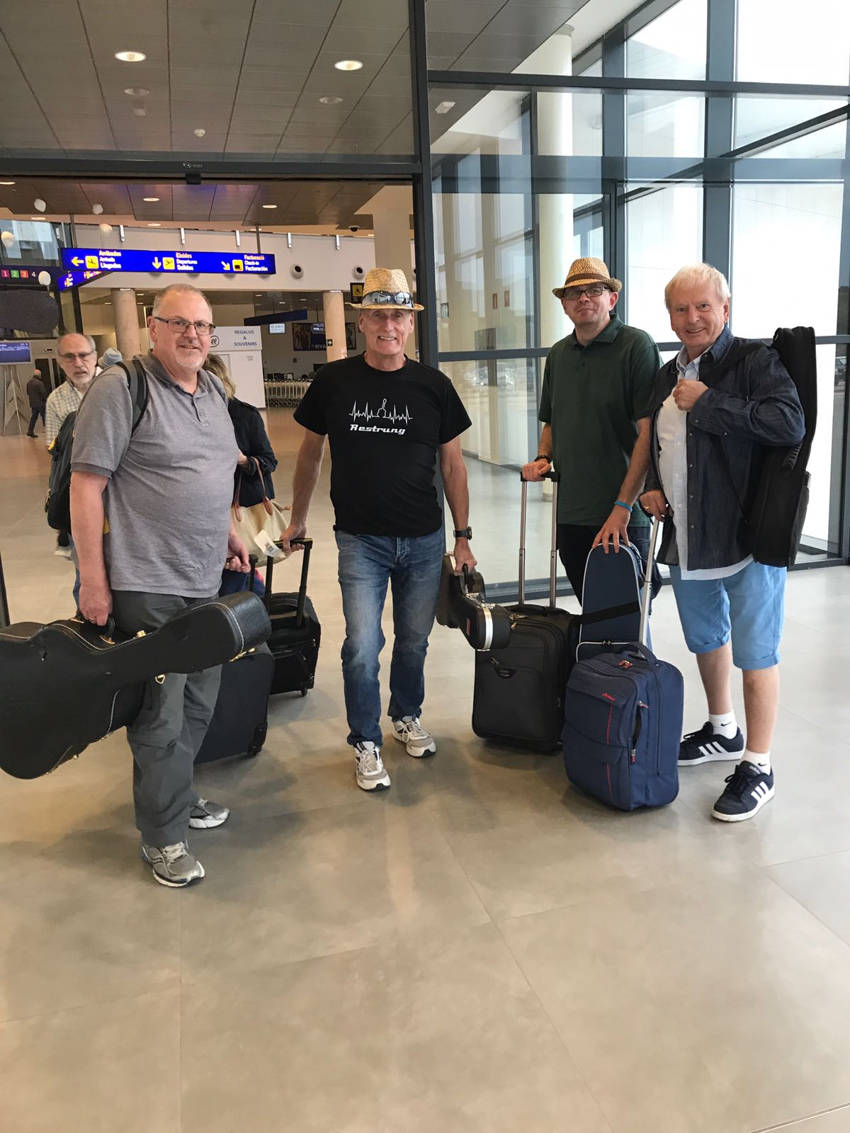 Arriving for the gigs in Spain