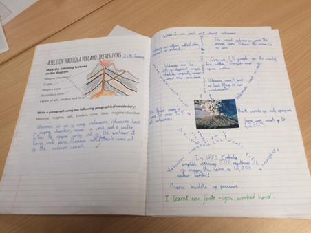 Volcanoes example classwork