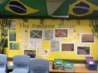 KS2 Amazon Basin geography classroom display
