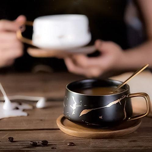 Marbled Tea Cup & Saucer Set