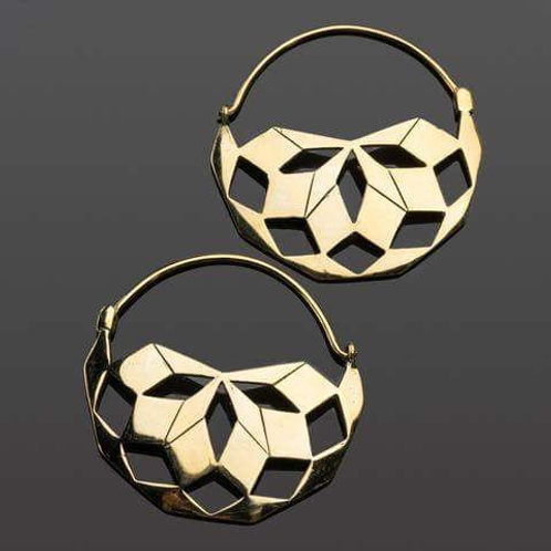 Solid Brass Mandala Hoops