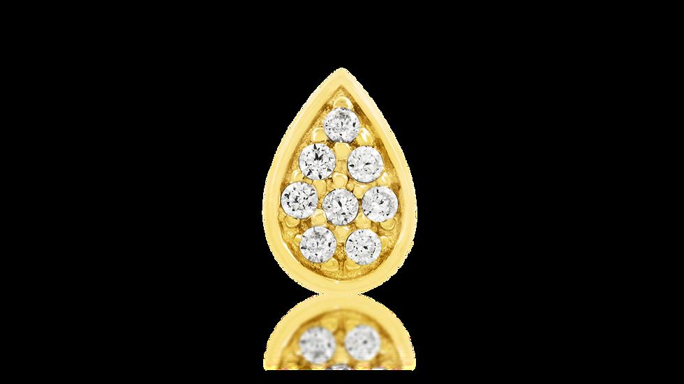 Gold Pear with Swarofski Gems