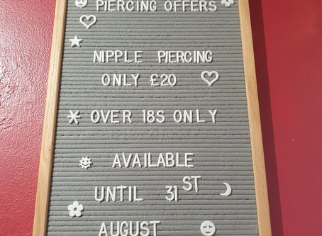 August Piercing Offer -  Not long left!