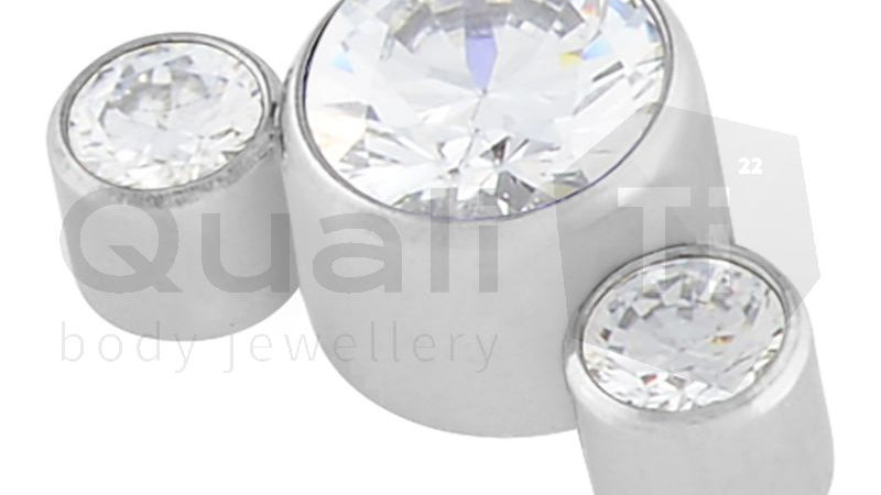 Clear Cubic Zirconia 3 Stone Cluster