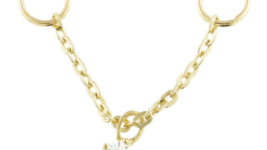 9ct gold hanging gem chain charm for bars