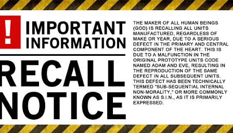 Recall Notice To All Human Being Units