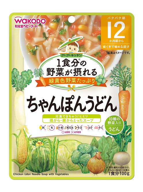 Chicken Udon Noodle soup with Vegetables