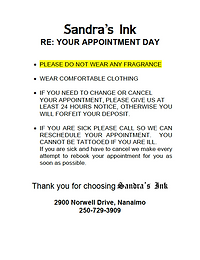 Sandra's Ink Appointment Day Information