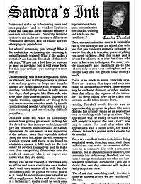 Sandra's Ink Sandra Danchuk's article on permanent makeup
