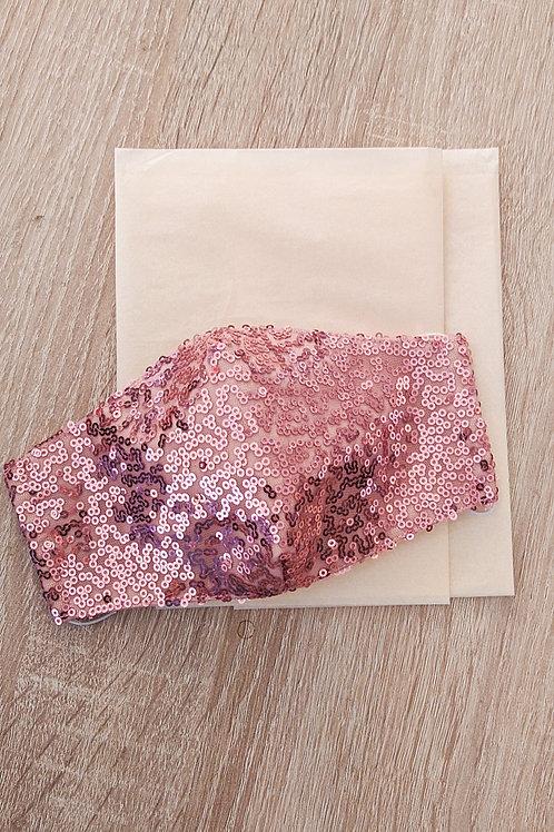 Mascarilla SEQUINS rosa palo